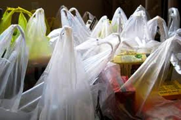 A ban on plastic bags distributed at cashiers in French shops.