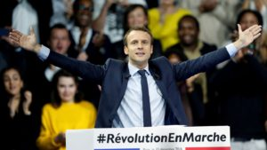 French Presidential Candidate Emmanuel Macron, is leading the polls.